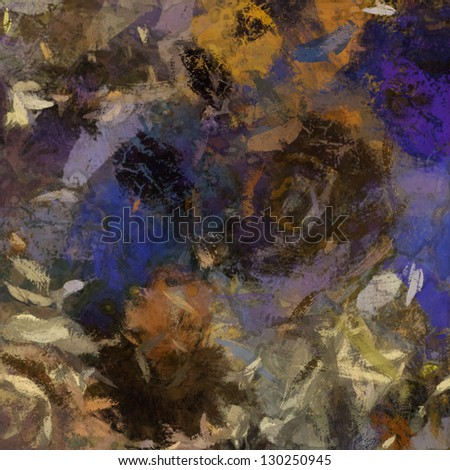 art abstract violet painted background with beige, orange, brown and black blots - stock photo