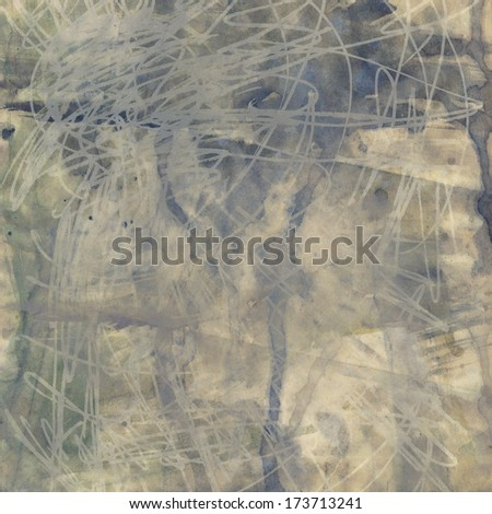 art abstract watercolor and graphic beige  background with grey and blue blots - stock photo