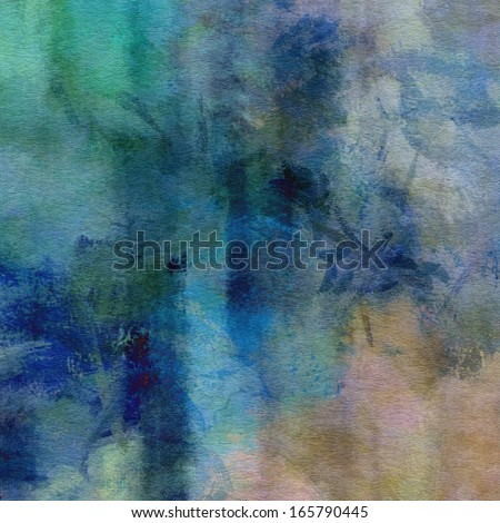 art abstract watercolor background on paper texture in light blue, beige and green colors - stock photo