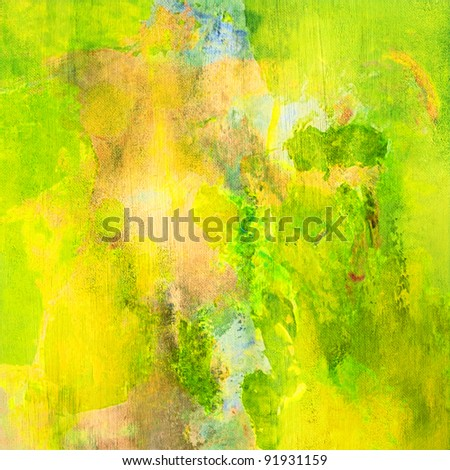 art abstract watercolor bright background with green, yellow and beige blots - stock photo