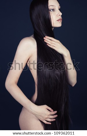 Art Anatomy of a young girl in the dark - stock photo