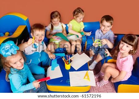 Art and craft activity in the kindergarten - stock photo