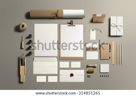 Art and Craft Stationery, Branding Mock-up, with clipping path, isolated, changeable background. - stock photo