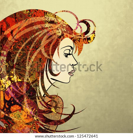 art autumn colorful sketching beautiful girl face in profile on sepia background - stock photo