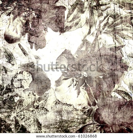 art autumn floral grunge graphic and watercolor monochrome background in white, black and brown colors - stock photo