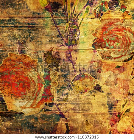 art autumn floral grunge graphic background with orange roses on gold and green wood basis