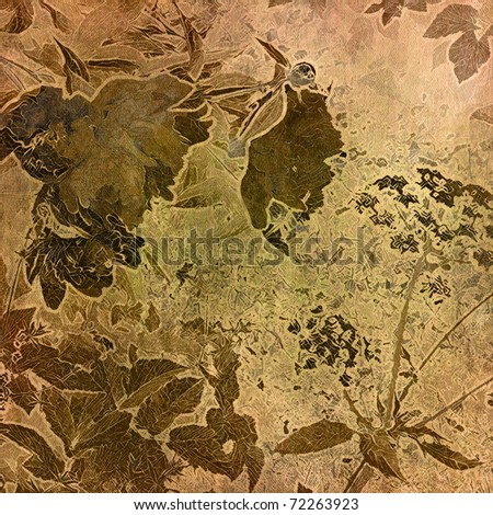 art autumn floral grunge graphic brown and beige background with blots - stock photo