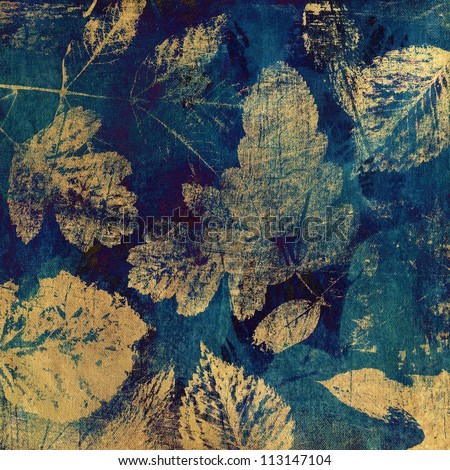 art autumn leaves background, card in beige and green-blue colors