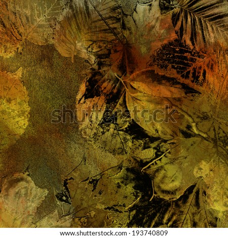 art autumn leaves background in gold, olive, green, orange, black and brown colors - stock photo