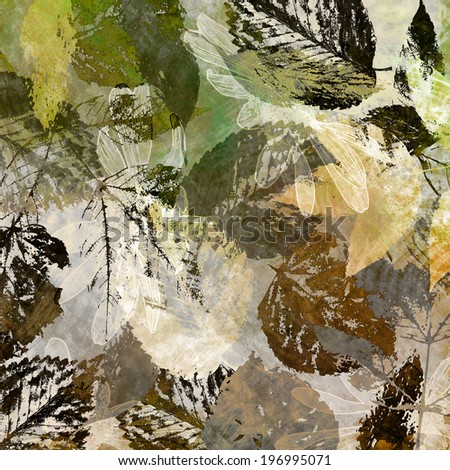 art autumn leaves background in green, golden yellow, grey, white, black and brown colors - stock photo