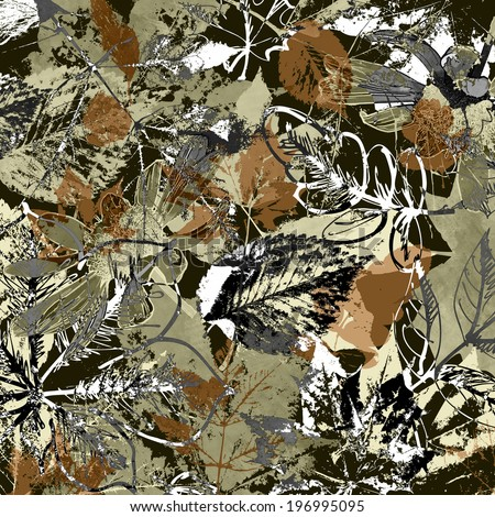 art autumn leaves background in white, olivin, grey, black and brown colors - stock photo