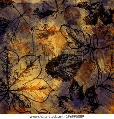 art autumn leaves graphic background in old gold, iris, black and brown colors - stock photo