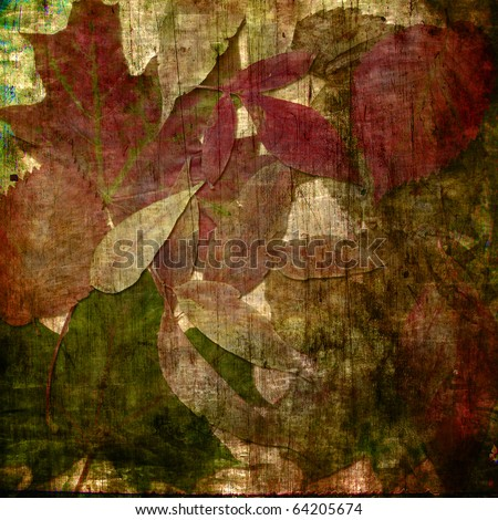 art autumn leaves vintage grunge background in beige, burgundy, green and brown colors - stock photo