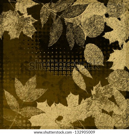 art autumn sepia leaves on brown background - stock photo