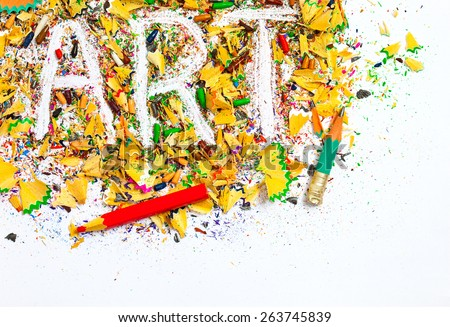 art background from colored pencils shavings - stock photo
