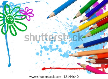 art background with crayons - stock photo