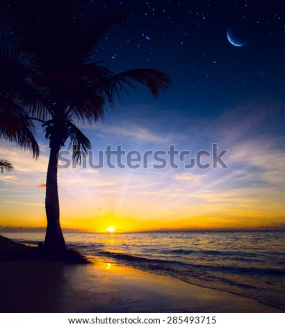 Art Beautiful colorful sunrise over sea - stock photo
