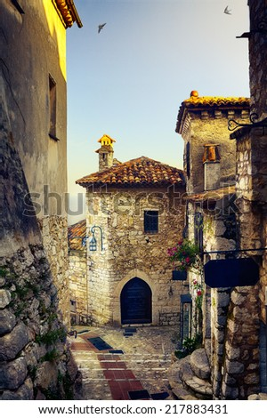 art beautiful mediterranean old town of Provence - stock photo