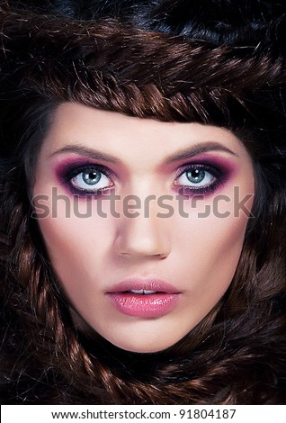 Art beauty portrait of nice photo model braided brunette  - lovely young brown-haired girl closeup - stock photo