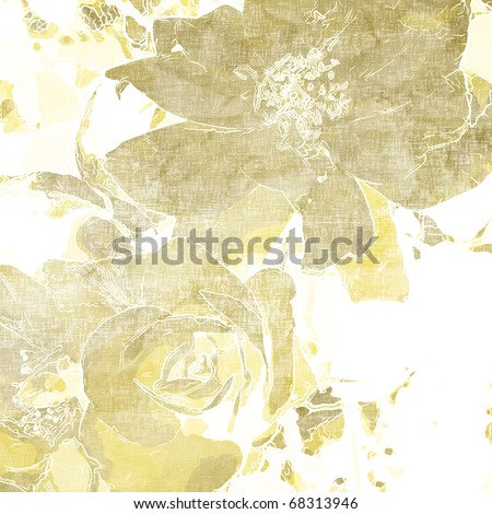 art beige and light yellow floral vintage pattern on white background for holidays