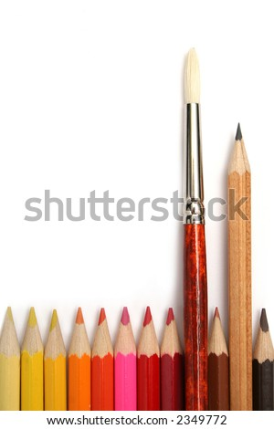 Art brush and simple pencil for plotting among colour pencils made of a tree