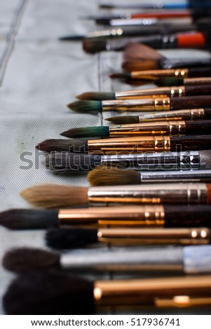 Art brush artist. Collection of brushes for painting. Brushes in the cover. Background.