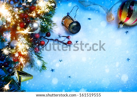art Christmas and New year party background - stock photo