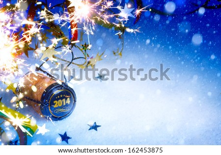 art Christmas and 2014  New year party background - stock photo