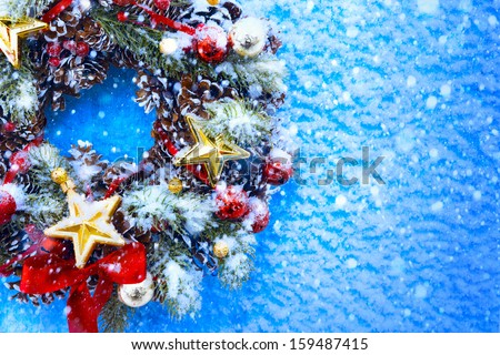 Art Christmas and New Year's background - stock photo