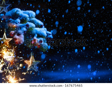 art Christmas Background with ornaments and Christmas fir tree - stock photo