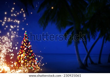 Art Christmas in Hawaii with Palm Trees and Stars  - stock photo