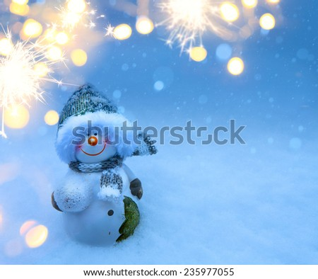 Art Christmas night - background with  snowman in the snow - stock photo