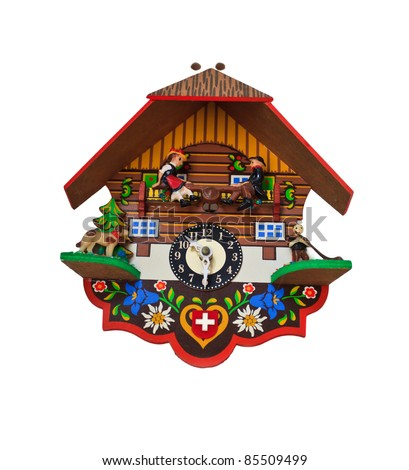 art clock on isolate background as swedish stlye - stock photo