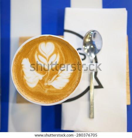 Art coffee .Cappuccino Coffee,Top view - stock photo