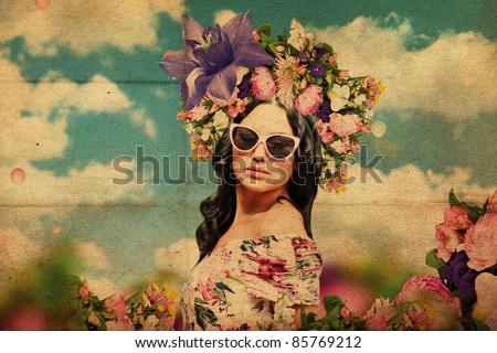 art collage. beautiful young woman with flowers on the head, vintage texture - stock photo