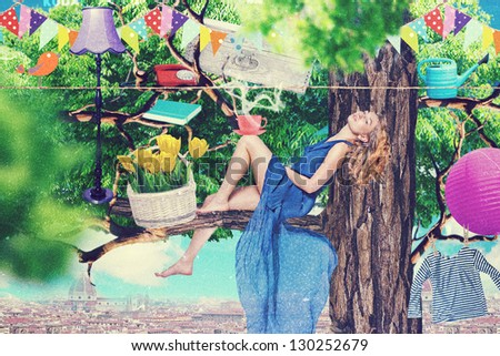 art collage with beautiful woman, retro style, fantasy - stock photo