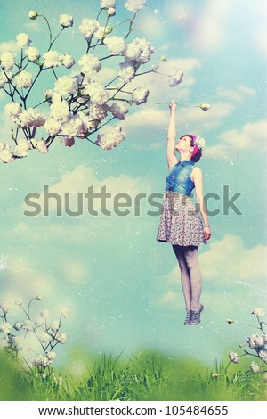 art collage with beautiful woman, vintage - stock photo