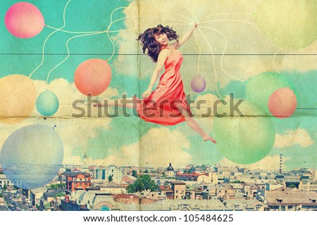 art collage with beautiful young woman in jump, vintage - stock photo