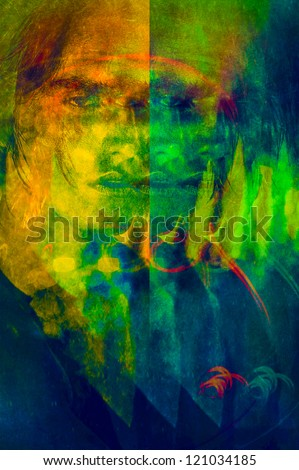 art color digital graphics portrait men, Photo based illustration. texture and grain added. - stock photo