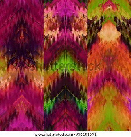 art colorful ornamental ethnic styled seamless pattern with vertical rows; blurred watercolor background in fuchsia, purple, pink, orange coral, red and gold green colors - stock photo