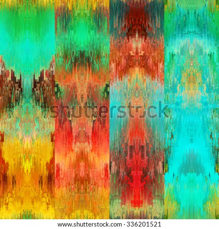 art colorful ornamental ethnic styled seamless pattern with vertical rows; blurred watercolor background in gold, orange, red and green colors - stock photo