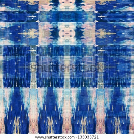 art colorful ornamental vintage seamless pattern in blue - stock photo