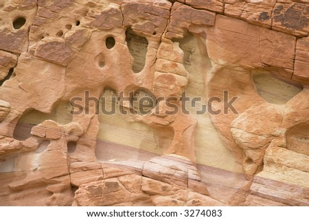 Art, colorful sandstone formation, Valley of Fire State Park, Nevada, USA - stock photo