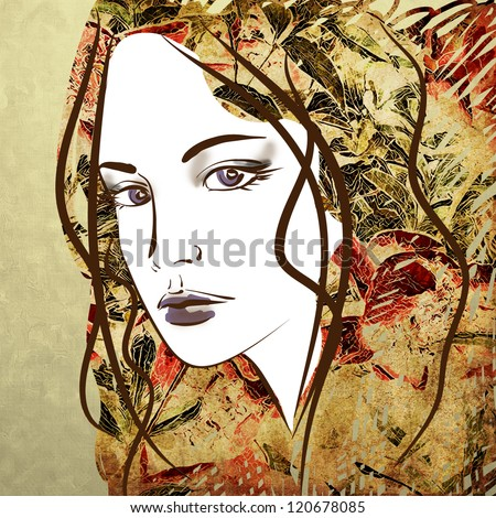 art colorful sketching beautiful girl face on sepia background - stock photo