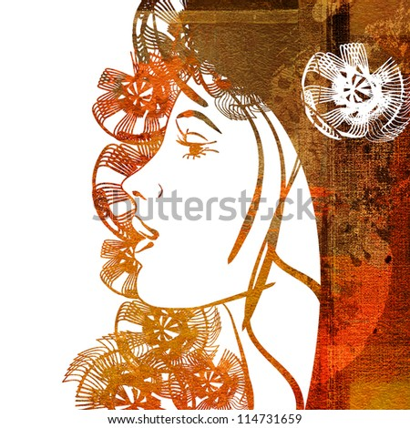 art colorful sketching of beautiful girl face with golden, red, orange brown floral hair on white background - stock photo