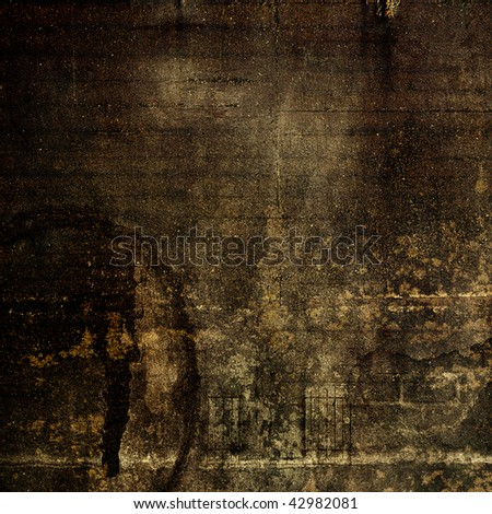art concrete textured grunge dark brown background with black and beige blots - stock photo