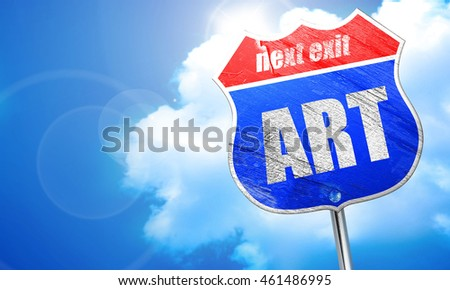 art, 3D rendering, blue street sign