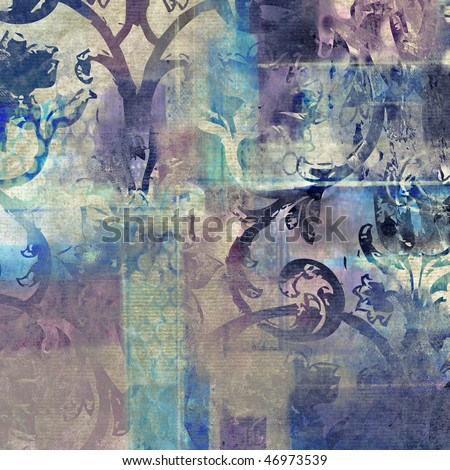 art damask floral grunge background pattern in transparency blue, beige, lilac, white and violet colors - stock photo