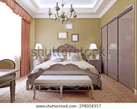 Art Deco Bedroom Ceiling Neon Lightscomfortable Stock Illustration ...