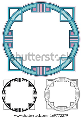 Art deco border in mauve and teal - stock photo
